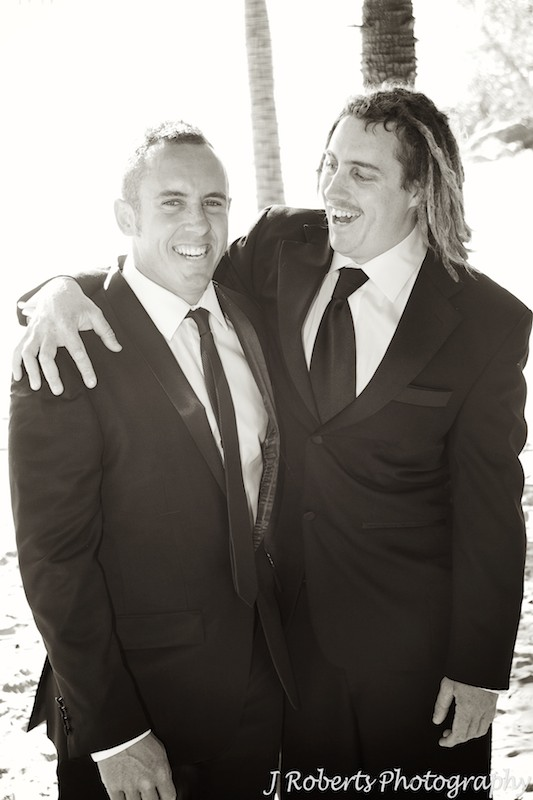 Groom laughing with brother - wedding photography sydney