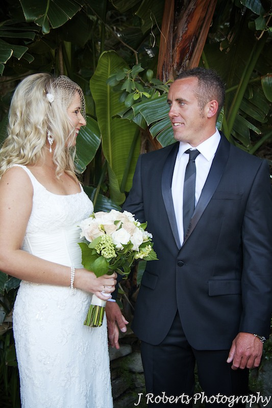 Bride and groom looking at each other for first time on wedding day - wedding photography sydney