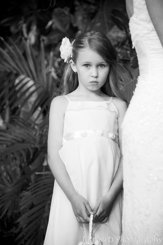 B&W of flower girl during wedding ceremony - wedding photography sydney