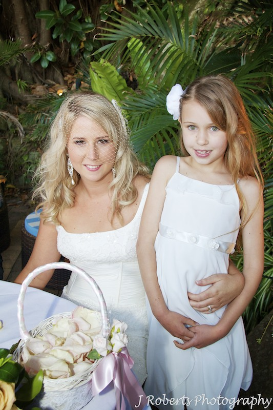 Bride with step daughter after ceremony - wedding photography sydney