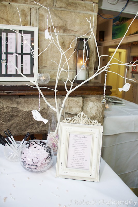 Wishing tree at wedding reception - wedding photography sydney