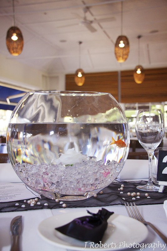 Fishbowl with fish centre piece at wedding reception - wedding photography sydney