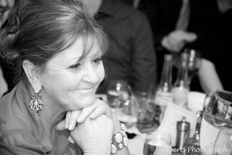 Mother of the bride tearing up during speeches - wedding photography sydney