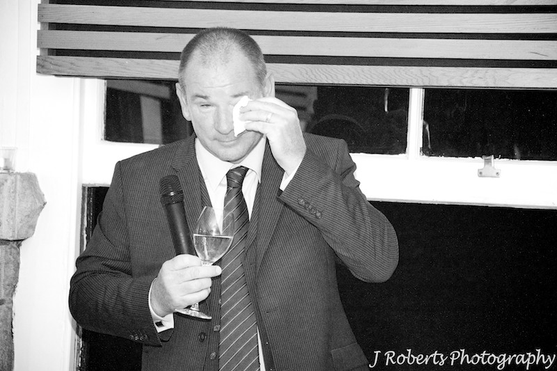 Father tearing up during his wedding speech - wedding photography sydney
