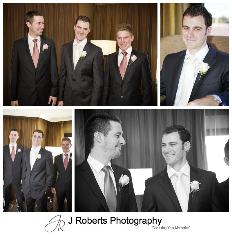 Groom laughing with his groomsmen pre wedding - wedding photography sydney