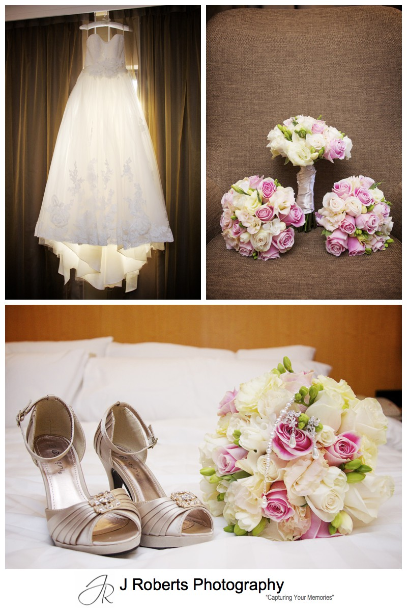Brides wedding details including soft pink bouquet - wedding photography sydney