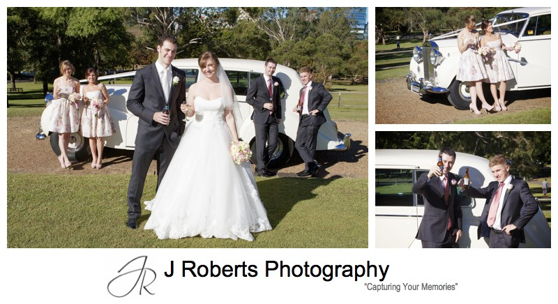 Couple with bridal party cheers - wedding photography sydney