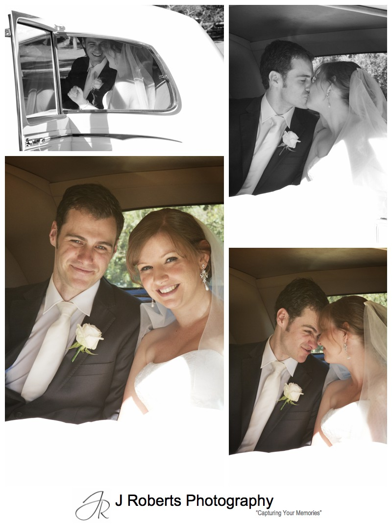 Married couple in rolls royce wedding car - wedding photography sydney