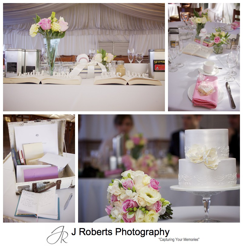 Wedding reception details with old books cut for table numbers the marquee at old government house parramatta - wedding photography sydney