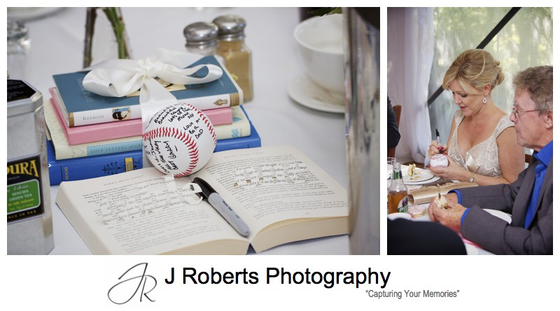 Baseball signing at keepsake from wedding - wedding photography sydney