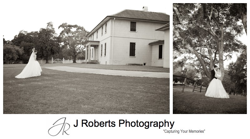 Sepia portraits in Jane Austen Era at Old Government House Parramatta - Sydney wedding photographer