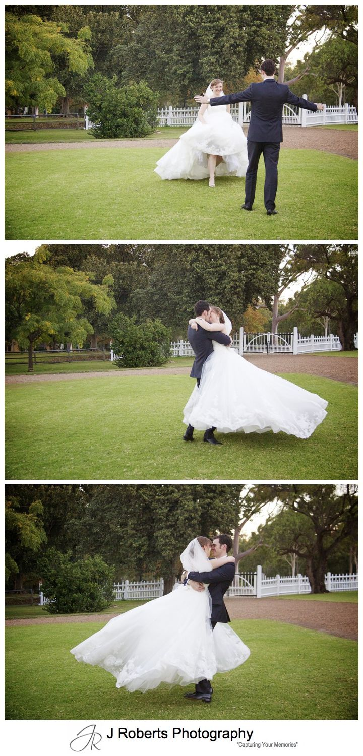 Groom swinging his bride in his arms - wedding photography sydney