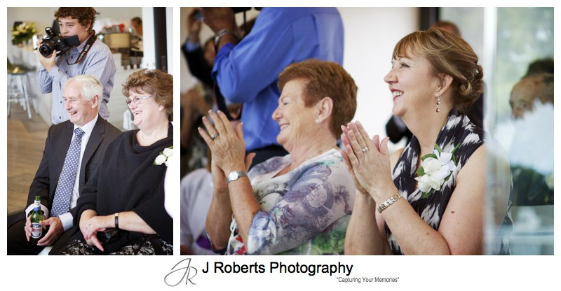 Guests clapping at wedding reception Balmoral - wedding photography sydney