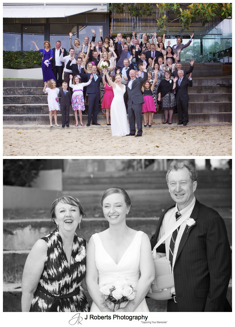 Whole group celebrating on the steps at the Baths Balrmoral - wedding photography sydney
