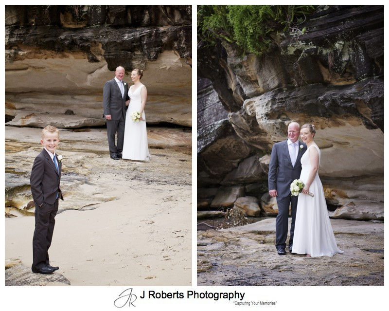 Wedding party at the sandstone rocks Balmoral Beach - wedding photography sydney