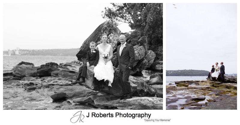 Couple with son near rock pools Balmoral Beach - wedding photography sydney