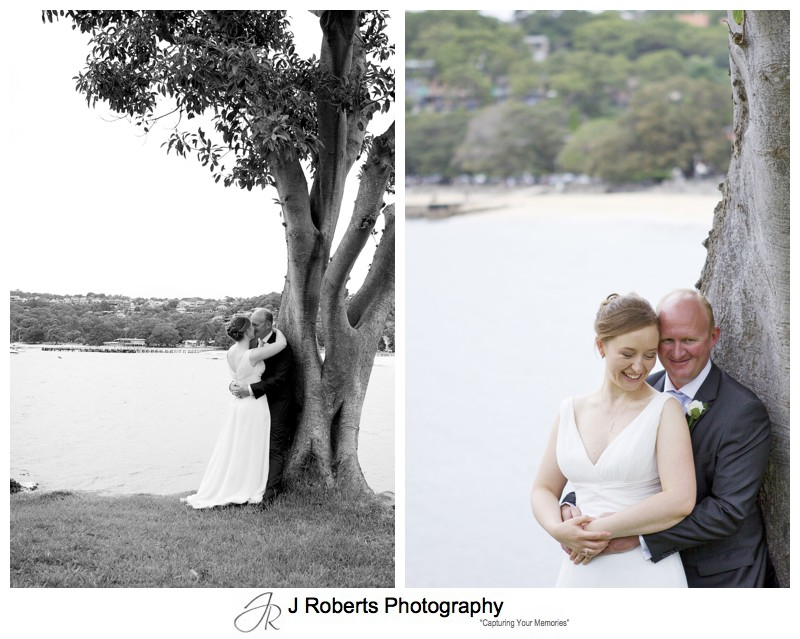 Bride and groom on the island Balmoral Beach - wedding photography sydney
