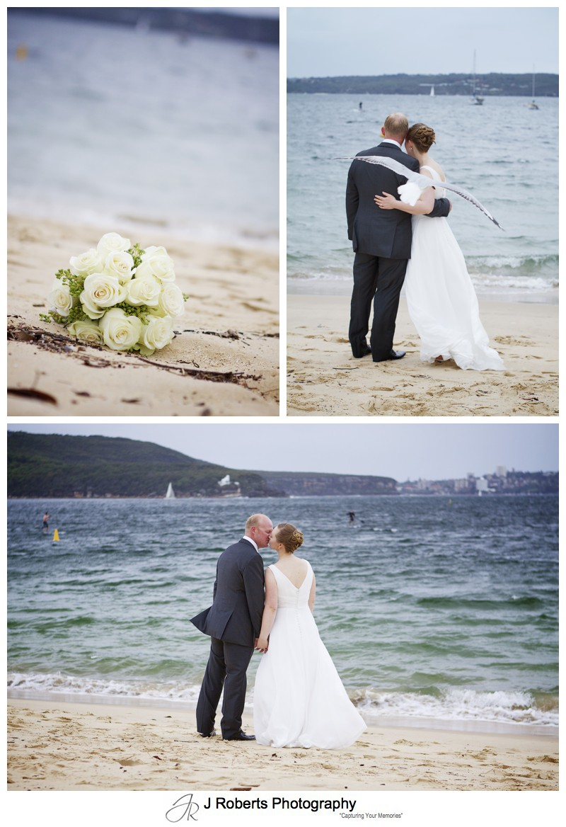 Bridal couple on an overcast windy day at Balmoral Beach - wedding photography sydney