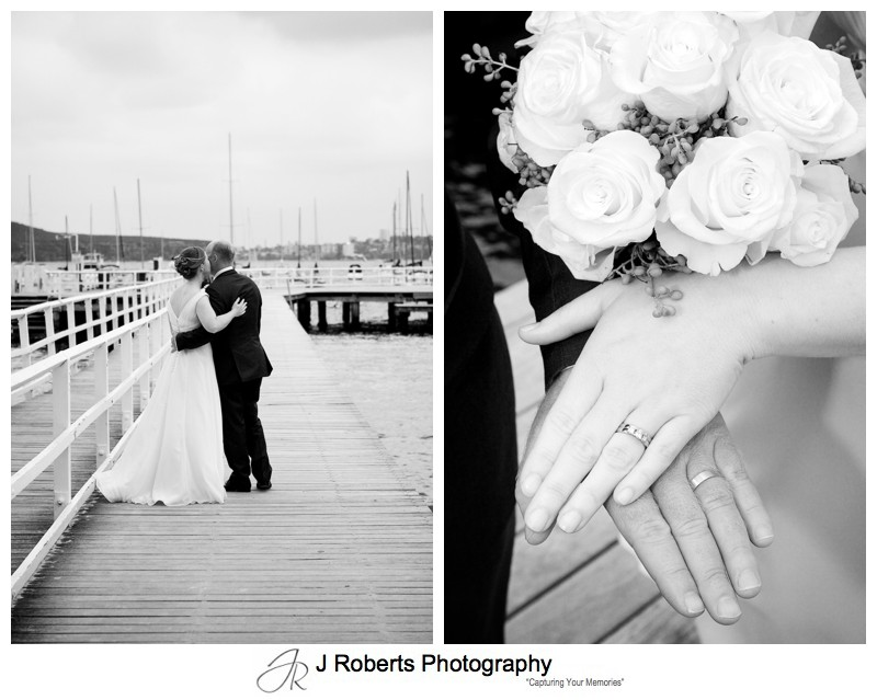 B&W photos of couple at Balmoral Baths - wedding photography sydney