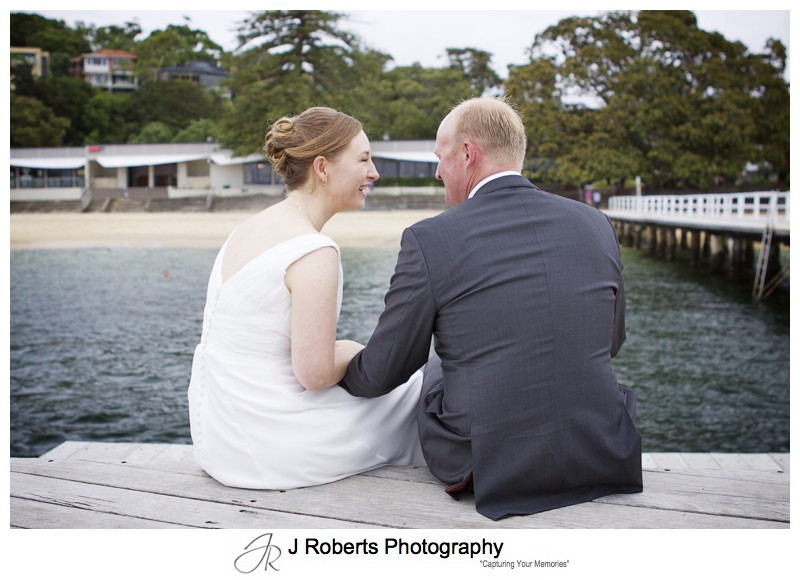 Couple chatting in front of The Public Dining Room Balmoral - wedding photography sydney