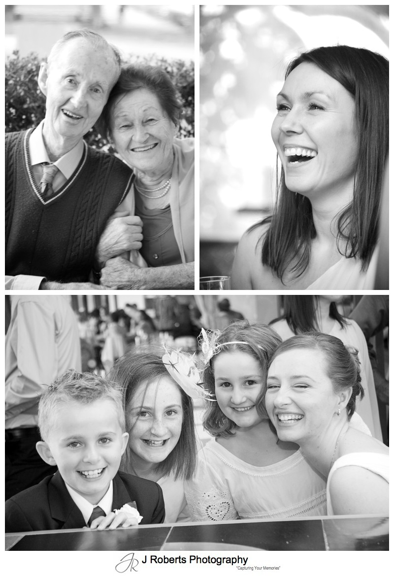 B&W Portraits of guests at wedding reception - wedding photography sydney