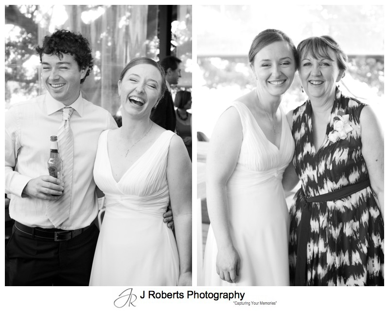 Bride with her mother and brother at wedding reception - wedding photography sydney