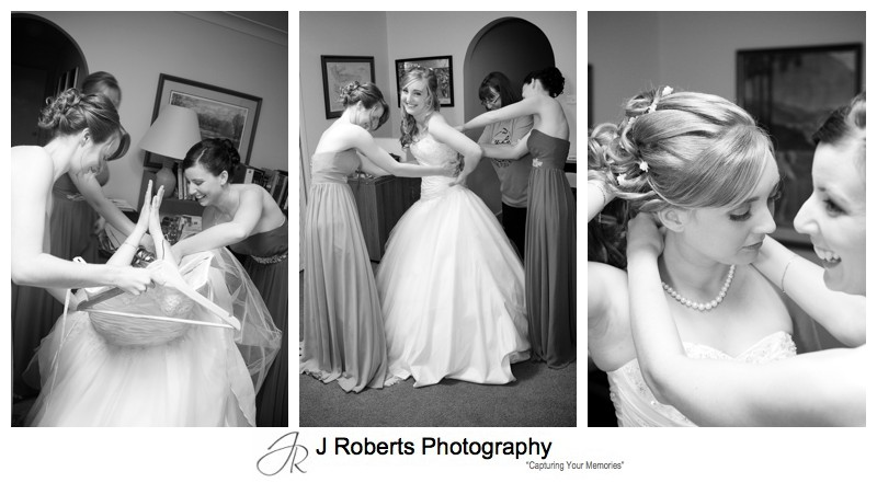 Bridal getting into her dress - wedding photography sydney