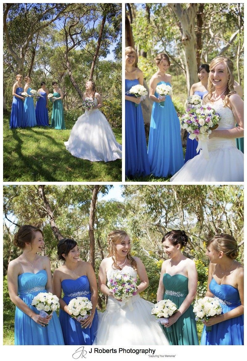Bride with her bridesmaids in an australian bush setting - wedding photography sydney