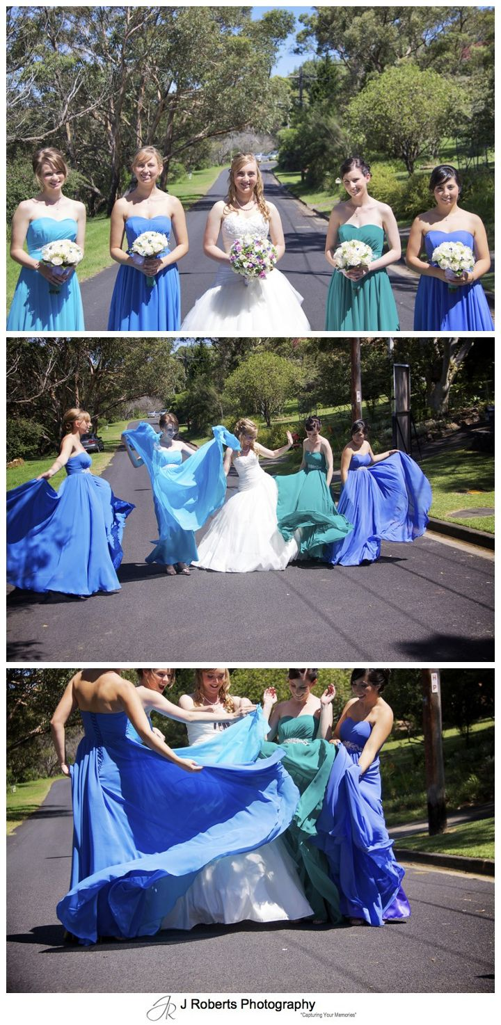 Bridemaids with swishy green, blue and purple dresses - wedding photography sydney