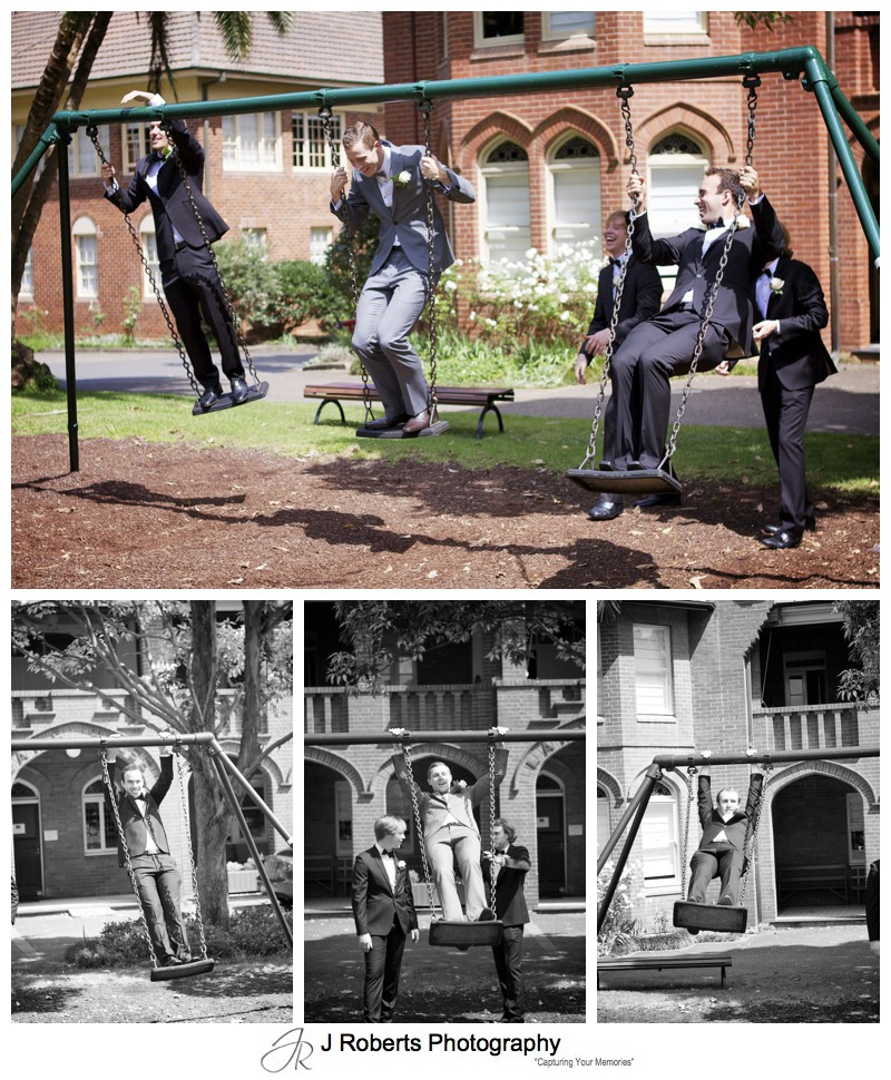 Groom on swing set at PLC Pymble with groomsmen - wedding photography sydney
