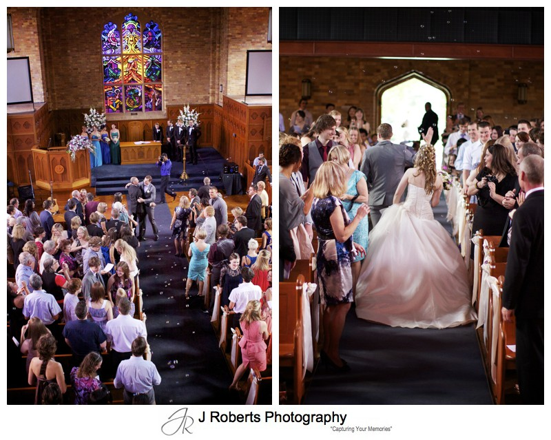 Bride and groom leaving the church - wedding photography sydney