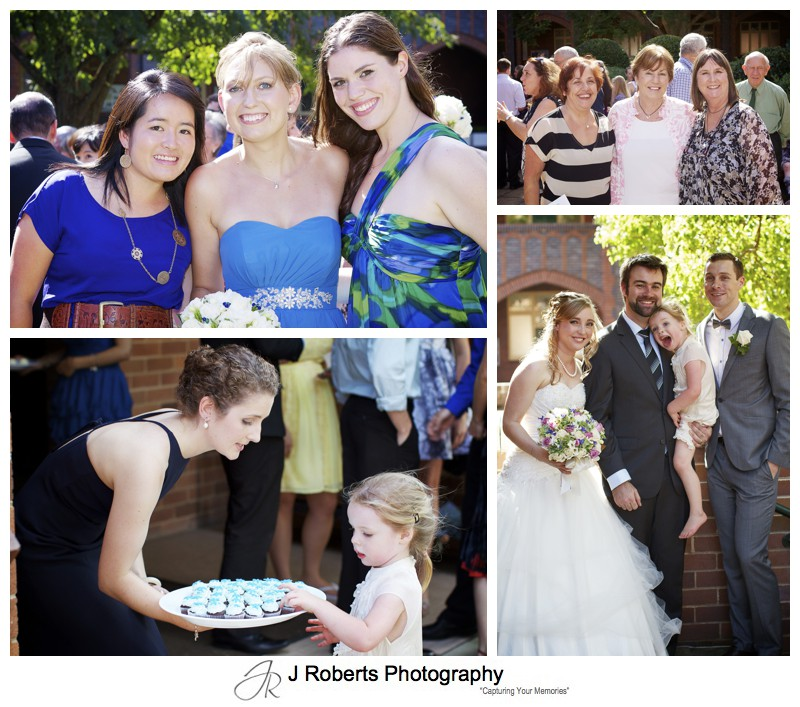 Guests afternoon tea after ceremony on Pymble lawns - wedding photography sydney