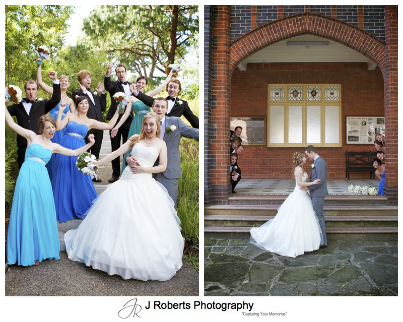 Bridal party having fun at PLC Pymble - wedding photography sydney