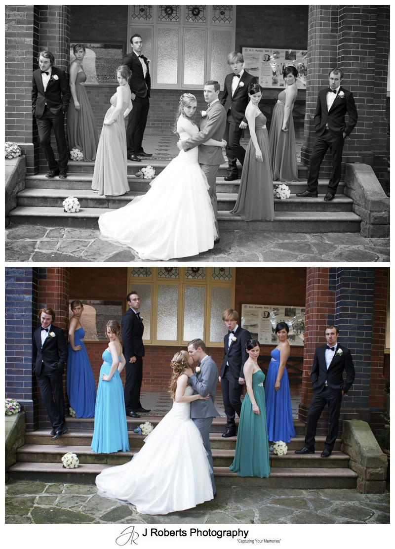 Bridal party blue steel - wedding photography sydney