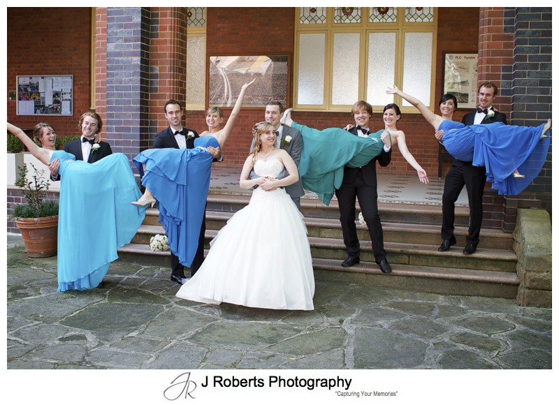 Bridal party fun photography - wedding photography sydney