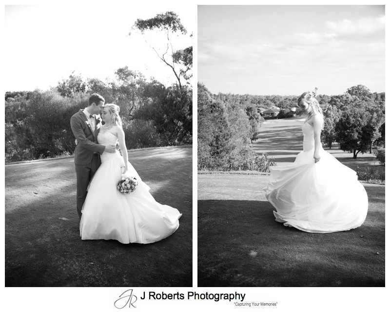 B&W portraits on golf course - wedding photography sydney