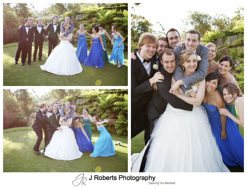 Bridal party group hug - wedding photography sydney