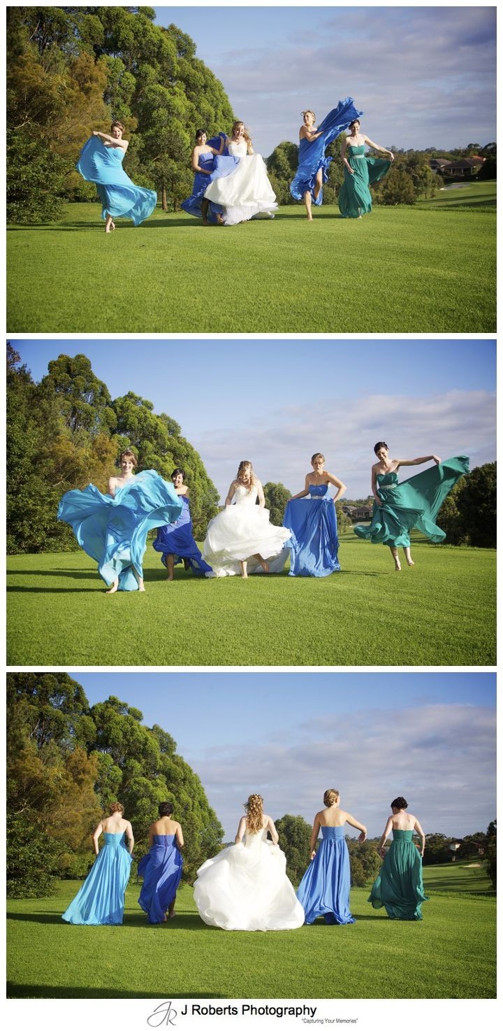 Bride and her bridesmaids skipping on a golf course - wedding photography sydney
