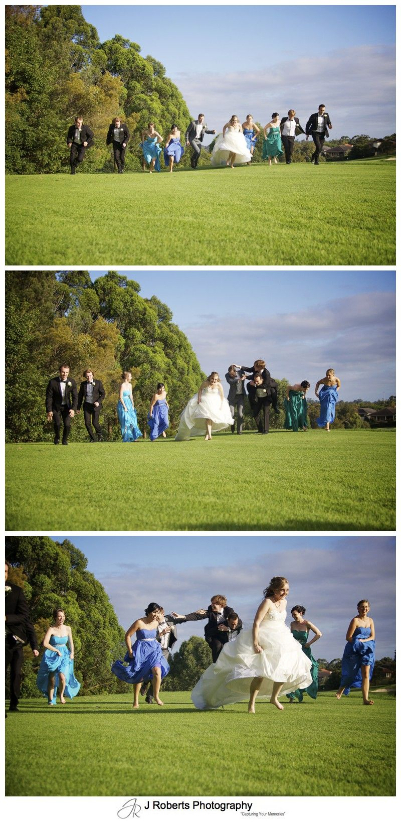 Bridal party running race - wedding photography sydney