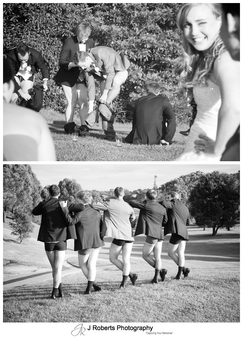 Groomsmen pants down - wedding photography sydney