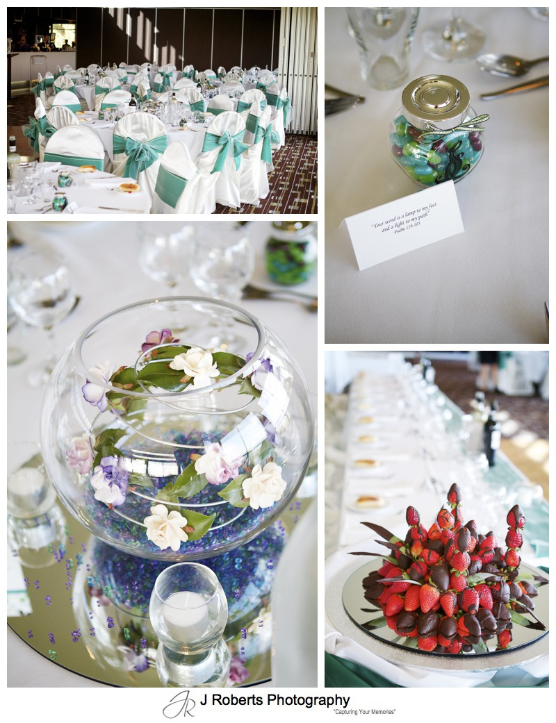 Table decorations in blue, green and purple - wedding photography sydney