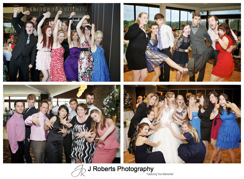 Group fun shots at wedding reception - wedding photography sydney
