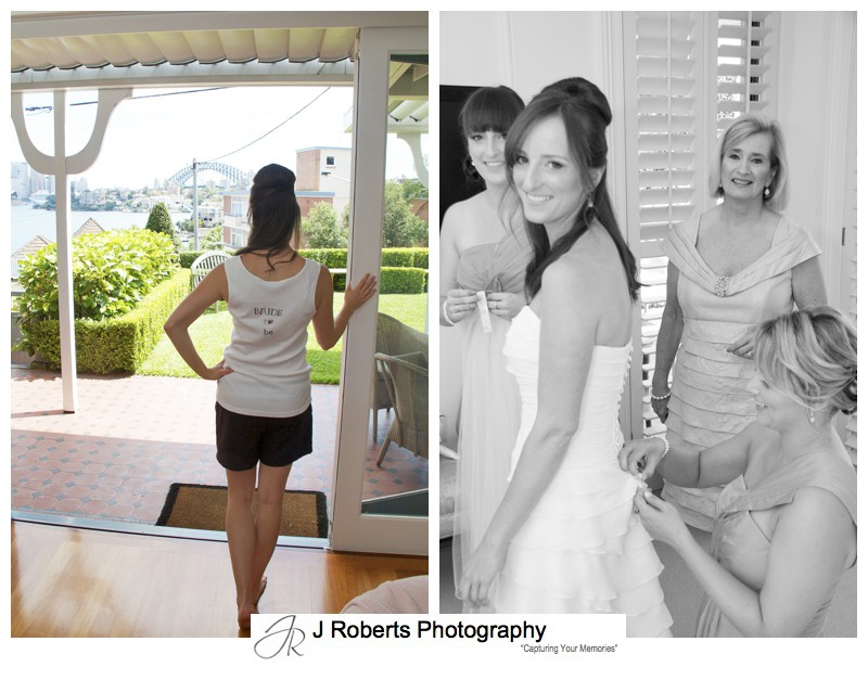 Bride to be singlet and getting ready - wedding photography sydney