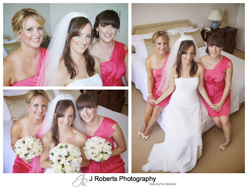 Bride with her bridesmaids in watermelon colour dresses - wedding photography sydney