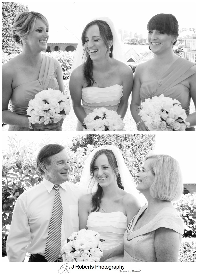 Bride laughing with her family - wedding photography sydney