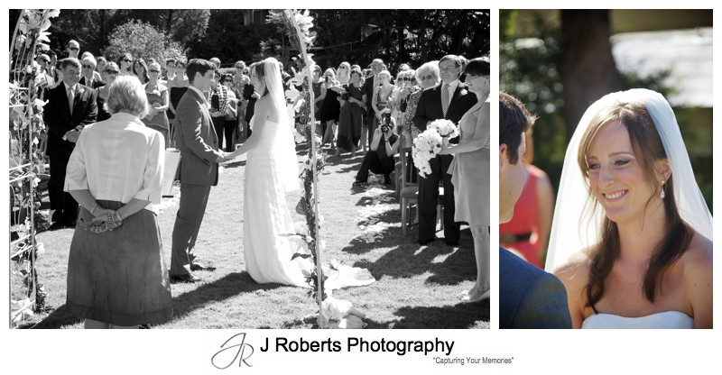 Wedding ceremony on the lawns of the RSYS = wedding photography sydney