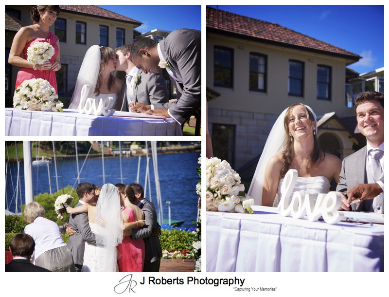 Bride and groom signing the register and a group hug - wedding photography sydney