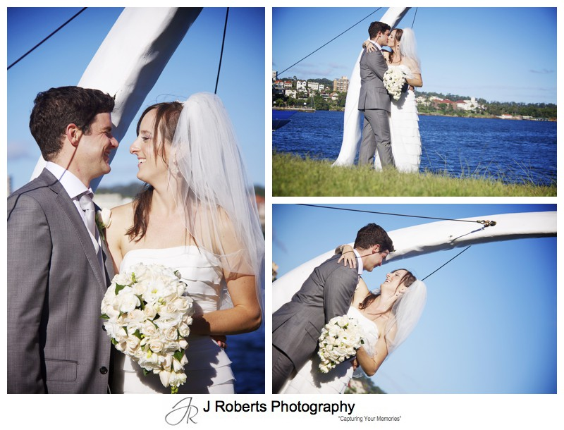 Bride and groom under the whale bone at RSYS - wedding photography sydney