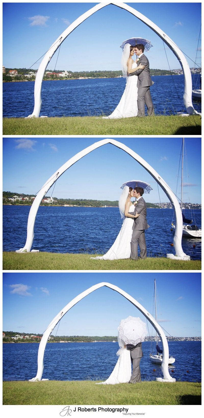 Bride and groom with parasol on Sydney Harbour - wedding photography sydney