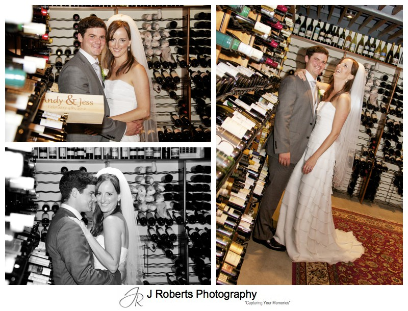 Bride and groom in the cellar at the RSYS Kirribilii = wedding photography sydney